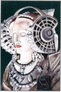 Dibujo - Dama con cascos musicales