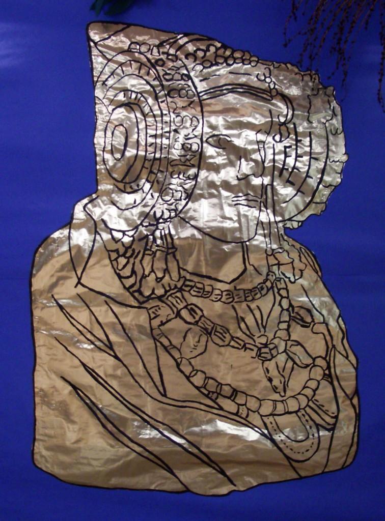 Dibujo - Dama Papel Dorado