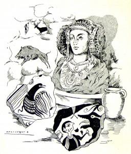 Dibujo - Dama de Elche y pinturas rupestres