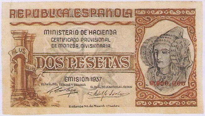 Timbre - Certificado moneda divisionaria 2 Pesetas
