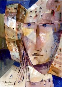 Pintura - Dama con fondo azul