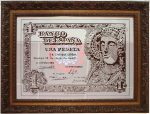 Objeto - Espejo con el Billete de una peseta