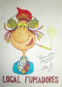 Dibujo - Caricatura Dama Local Fumadores