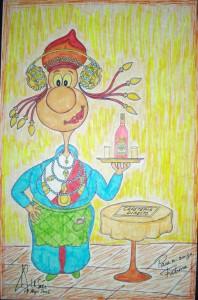 Dibujo - Caricatura Dama camarera