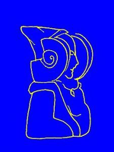 Dibujo - Dama azul