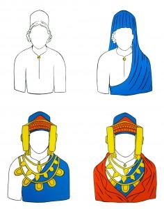 Dibujo - Vestido de la Dama de Elche