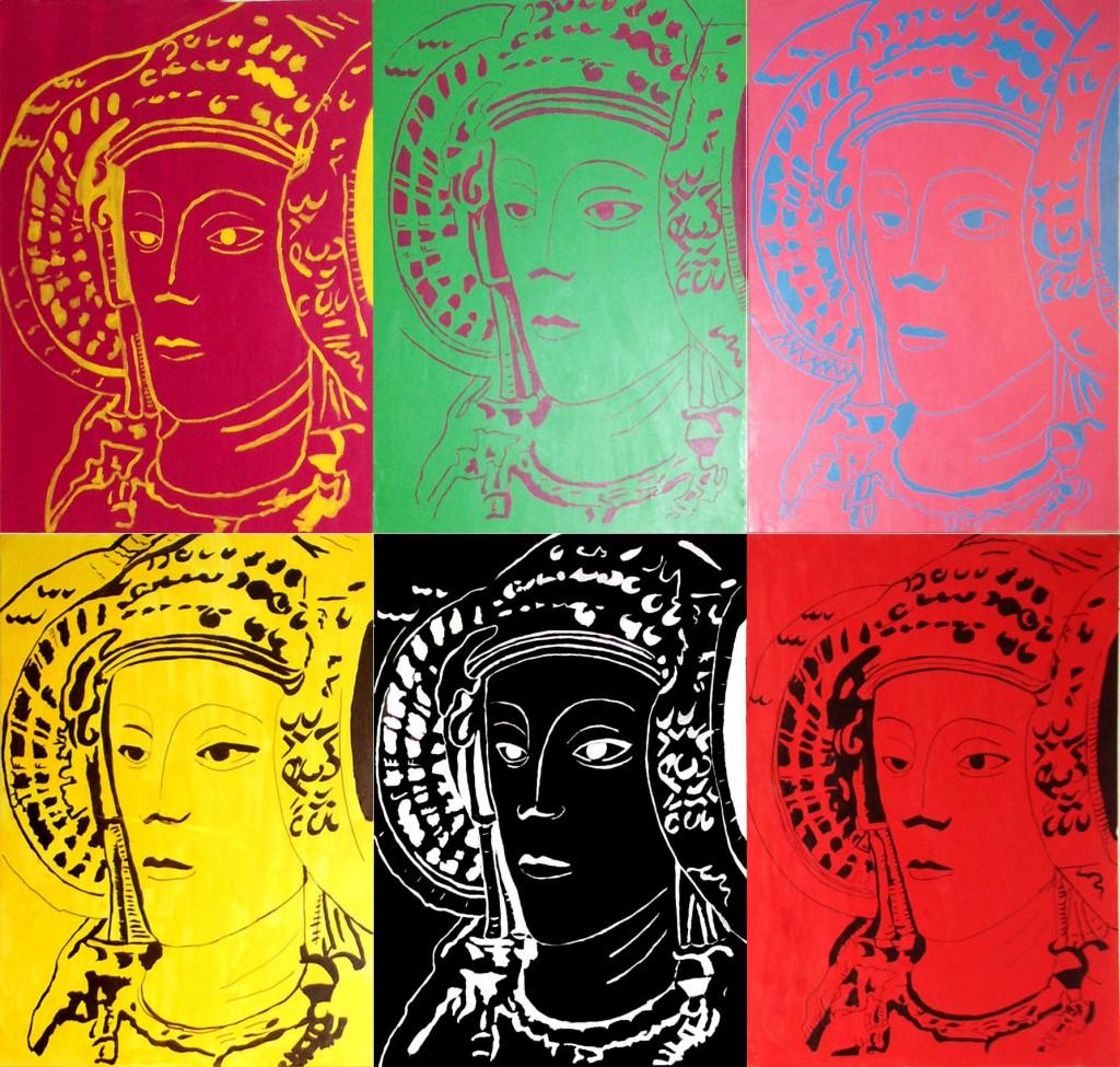 Pintura - Dama abstracta como Andy Warhol