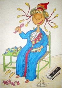Dibujo - Caricatura Dama zapatera