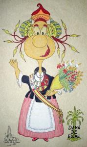 Dibujo - Caricatura Dama de Elche-Reina de las Fiestas
