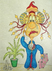 Dibujo - Caricatura Dama de Elche-Llorosa