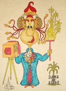 Dibujo - Caricatura Dama de Elche-Fotógrafa