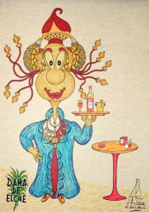 Dibujo - Caricatura Dama de Elche-Camarera