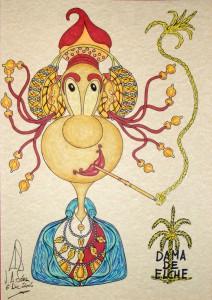 Dibujo - Caricatura Dama de Elche-Fumadora
