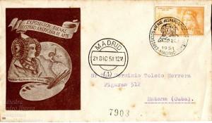 Timbre - Sobre Primer Día Exposición Bienal Hispano Americana de Arte