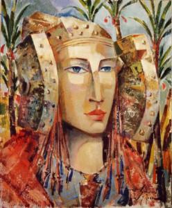 Pintura - Dama con palmeras 4506