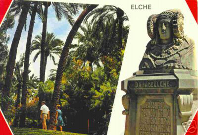 Tarjeta postal - Escalinata del Parque y la Dama de Elche