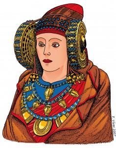 Tarjeta postal - Dama de Elche en color