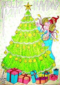 Dibujo - Caricatura Dama de Elche Feliz Navidad