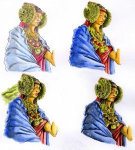 Dibujo - Tres interpretaciones de la Dama