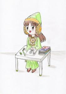 Dibujo - Disfraz de la Dama de Elche verde