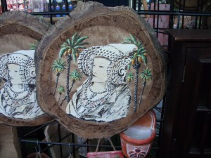 Pintura - Dama de Elche y palmeras