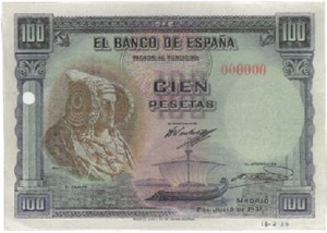 Timbre - Billete 100 pesetas