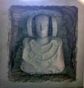 Escultura - Dama en bloque de aluminio