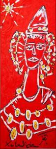 Pintura - La Dama Roja y el Sol Blanco