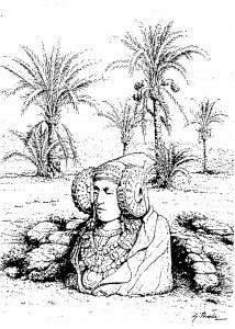Dibujo - Dama de Elche en palmeral