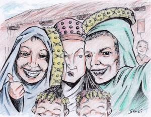 Dibujo - Selfies históricas - La Dama de Elche y sus fans.