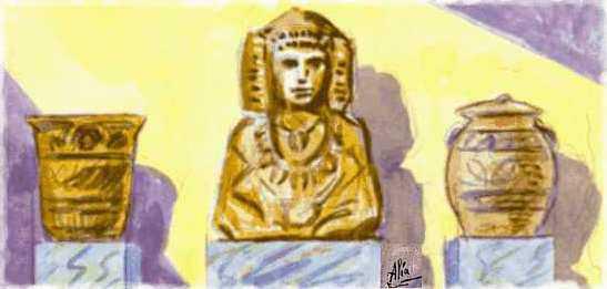 Dibujo - Dama de Elche y cerámicas