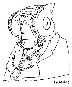 Dibujo - Dama de Elche. La dama esculpida.