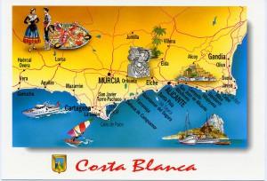 Tarjeta postal - tarjeta Costa Blanca