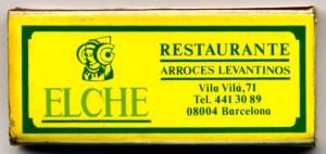 Objeto - Caja de cerillas Restaurante Elche
