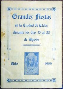 Objeto - Programa de Fiestas de Elche de 1929