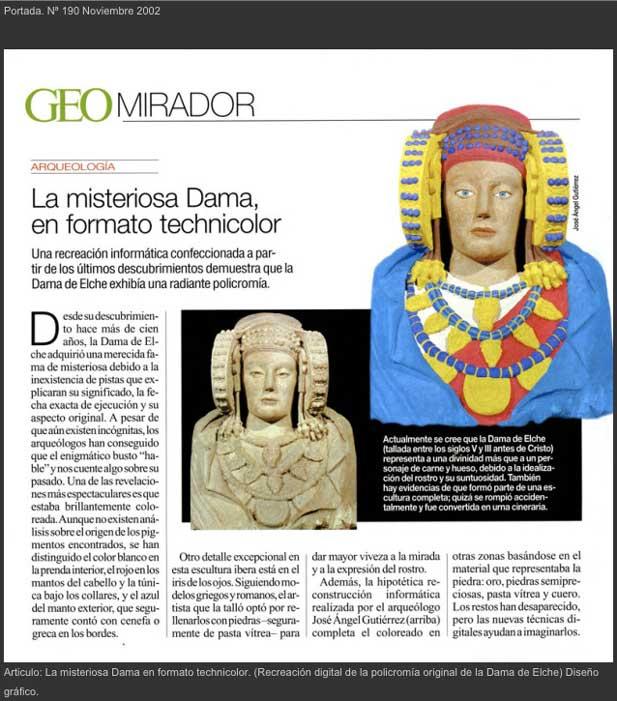Portada del nº 190 Noviembre 2002. Artículo: La misteriosa Dama en formato technicolor. (Recreación digital de la policromía original de la Dama de Elche) Diseño Gráfico.