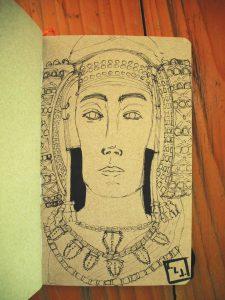 Boceto para conocer la reacción del papel con la tinta.