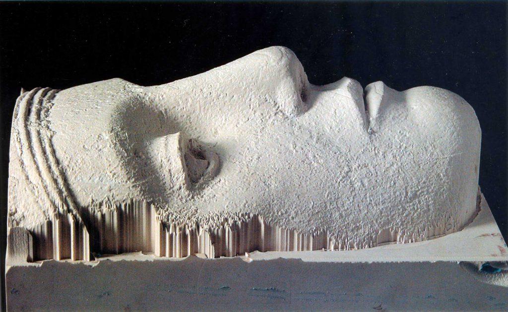 Fresado del rostro. El proyecto Duple consiste en clonar la Dama de Elche mediante el digitalizado de toda su superficie a alta resolución para posteriormente
