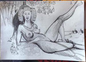 4034-La Dama del Cabanyal-boceto-lápiz